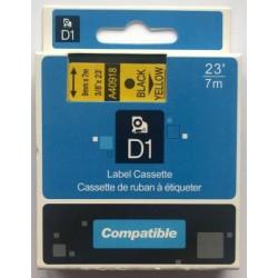 Dymo páska D1, 40918, S0720730, 9 mm, černá/žlutá, kompatibilní