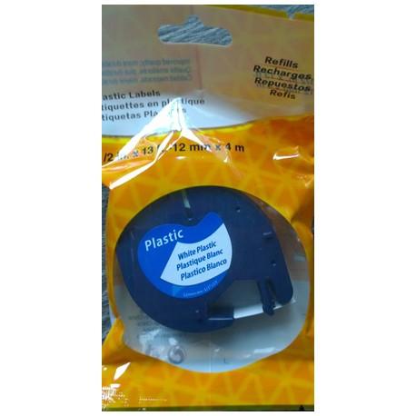 Kompatibilní páska DYMO LetraTag 59422, 12mm bílá plastová, černý tisk, 4m, S0721560