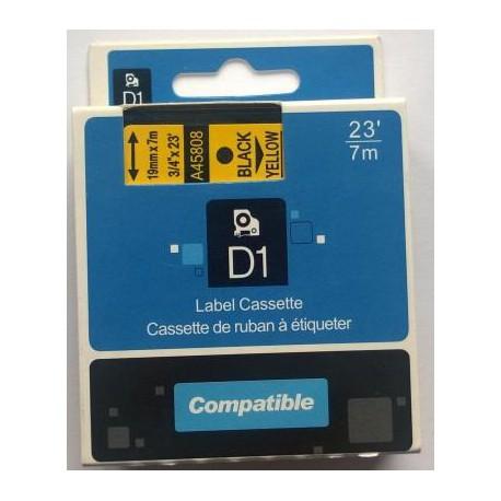 Dymo D1, 45808, S0720880, 19 mm, černá/žlutá - kompatibilní