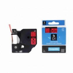 Dymo páska D1, 45017, S0720570, 12 mm, černý tisk/červený podklad - kompatibilní